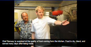 Chef Ramsey points out the protagonist's errors on an episode of Kitchen Nightmares
