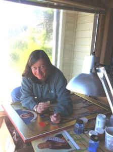 Heather MacKean works on an icon in the Oregon Writers Colony Colonyhouse